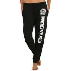Supernatural Winchester Bros Girls Pajama Pants Hot Topic ($17) ❤ liked on Polyvore featuring pajamas