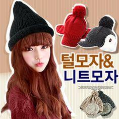 Gmarket - [예쁜털모자 3900원] Pompom knit hats / short brim / ri...