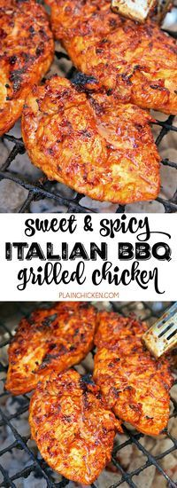 Sweet and Spicy Italian BBQ Grilled Chicken - only 4 ingredients in the marinade! BBQ sauce Italian dressing chili powder and red pepper flakes. Sweet and spicy! SO delicious! We make this once a week. Everyone cleans their plate. The chicken is so juic Turkey Recipes, Meat Recipes, Dinner Recipes, Cooking Recipes, Healthy Recipes, Casserole Recipes, Healthy Grilled Chicken Recipes, Grilled Desserts, Italian Recipes