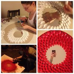 Recycle project: DIY mirror, plastic spoons.
