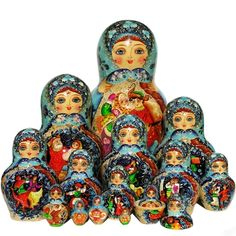 Russian Dance Party Nesting Doll ( 15-piece set ) 12H Product Number: NND100-1007 This beautiful nesting doll set is hand painted in Central Russia by the talented artist Vasilieva. It has gorgeous contrasting colors and the entire collection is hand painted in the most traditional Russian folklore style.  Stunning blooms of flowers beautifully decorate the dolls backs and sides. Each nesting doll displays a colorful dancing scene or Russian countryside where dancing party took place.  The…