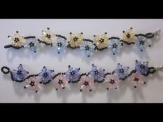 Free DIY tut - PULSERA DE FLORES ENTRALAZADAS CON TUPIES Y BOLITAS - YouTube (flower bracelet in Spanish)