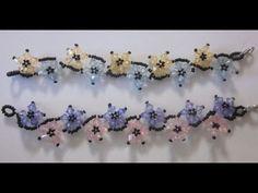 PULSERA DE FLORES ENTRALAZADAS CON TUPIES Y BOLITAS - YouTube (flower bracelet in Spanish)