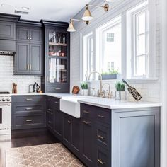 Modern Kitchen Design The BEST 50 BLACK KITCHENS you NEED to see! - It is no secret, in the design world, that dark kitchens are all the rage right now! Black kitchens have been popping up left and right and we are all for it, well I am anyways! Black Kitchen Cabinets, Black Kitchens, Kitchen Redo, Home Decor Kitchen, Kitchen Interior, New Kitchen, Home Kitchens, Kitchen Dining, Kitchen Black