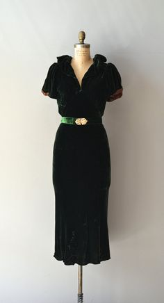 Montmartre dress / silk velvet 30s dress / vintage by DearGolden(325)