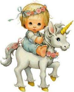 Ruth Morehead, unicorn and girl Unicorn Fantasy, Unicorn Art, Fantasy Art, Baby Animals, Cute Animals, Art Mignon, Unicorn Pictures, Sarah Kay, Unicorns And Mermaids