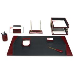 Have to have it. Dacasso Brescia Leather 9-Piece Desk Set $499.99