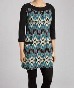 Look at this #zulilyfind! Black & Teal Ikat Sweater Dress - Plus #zulilyfinds