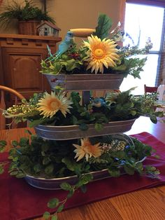 Spring in a tiered tray