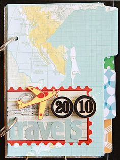 """Scrapbook inspo/mini book """"travels 2010"""". Also linked is how to make your own page protectors."""