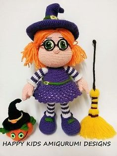 Cute Little Witch  This is a crochet pattern and not the toy.This is DOWNLOADABLE PATTERN and written in English using US terminology  The pattern will be sent via email after payment goes through. Please reach us using Etsy or our e-mail address. This pattern is easy to follow but requires basic crochet knowledge. Size :28 cm -(11.02 inch) Materials: Acrylic Weight Yarn :Nako Pırlanta ( Sport /5 ply(12wpi)?),Nako Vizon (Worsted / 10 ply (9 wpi)?) Colors: skin, white, purple , black...
