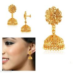 Earrings & Studs Designer Alloy Jhumki Material: Alloy Size: Free Size Plating: 22Kt Gold Plated Description: It Has 1 Pair Of Jhumki Work: Embellished Country of Origin: India Sizes Available: Free Size   Catalog Rating: ★4.2 (463)  Catalog Name: Diva Designer Alloy Jhumkis Vol 1 CatalogID_212736 C77-SC1091 Code: 671-1633633-543