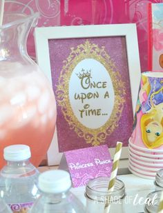 Adorable Disney Princess birthday party! Make DIY signs to place on food, drink, and gift tables. So cute!