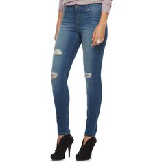 Women's Juicy Couture Flaunt It Ripped Skinny Jeans, Size: 10 Short, Blue Other