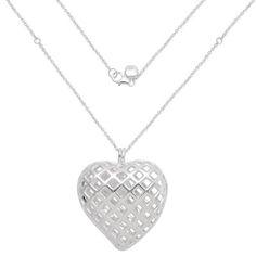 RACHEL GALLEY Sterling Silver Heart Shape Necklace (Size 30), Silver wt. 32.00 Gms.