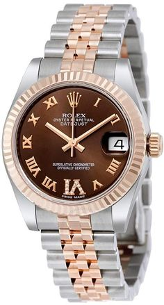 Rolex Datejust Lady 31 Chocolate Brown Dial Stainless Steel and 18K Everose Gold Jubilee Bracelet Automatic Watch