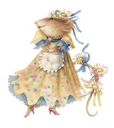 Marjolein Bastin Vera the Mouse | visit honeygirl1946 tumblr com  The blue in her little dress is just delightful!