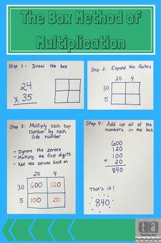 Multiplication Anchor Charts, Multiplication Strategies, Box Method Multiplication, Math Strategies, Math Fractions, Maths, Math Resources, Math Activities, Math Games