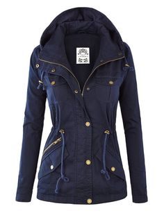MBJ Womens Pop of Color Parka Jacket L NAVY