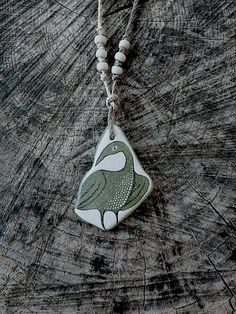 Healing Shard Necklace  Beach Glass Bird by LillaJizo on Etsy, $44.00