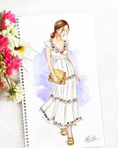 27 Ideas for fashion illustration sketches boho Dress Design Drawing, Dress Design Sketches, Fashion Design Sketchbook, Fashion Design Drawings, Dress Drawing, Vintage Fashion Sketches, Fashion Drawing Dresses, Fashion Illustration Dresses, Dress Illustration