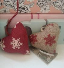 Hearts hessian fabric hanging hearts