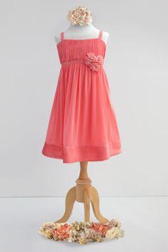 Bella Chiffon & Matching Charmeuse strapless dress; two tone chiffon flowers; charmeuse waist and hem line #JuniorBridesmaids