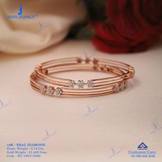 "Jewelegance® on Instagram: ""Artistic rose gold bracelet in diamond... Get in touch with us on +919904443030 #myjewelegance #jewellerystyle #realdiamond…"""