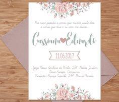 Convite de casamento floral. Compre em nossa loja a arte e imprima onde quiser.
