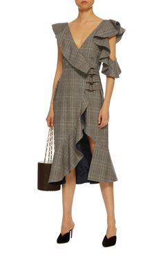Self Portrait  Ruffled Plaid Wrap Dress