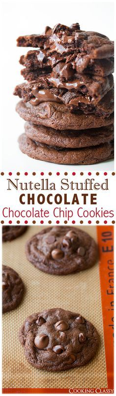 Nutella Stuffed Chocolate Chocolate Chip Cookies - These cookies are melt-in-your-mouth DELICIOUS!!