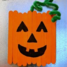 Craft Stick Pumpkin Magnet from This Girl's Life