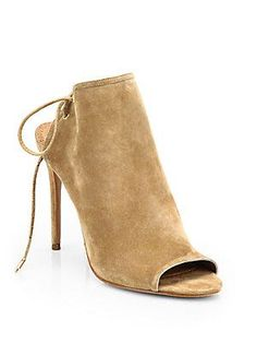 Aquazzura Mayfair Suede Open-Toe Ankle Boots -$595.00~ to die for~