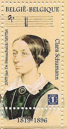 Belgian postage stamp of Clara Schumann