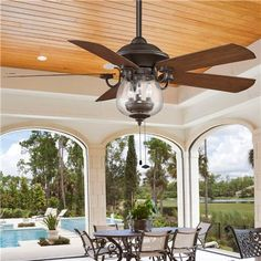 Indoor/ Outdoor Cloche Glass Ceiling Fan - 3-40w bulbs and 22h with rod and light - 52wide