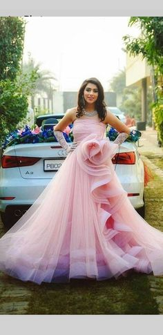 The most beautiful thing you can wear is confidence. Indian Wedding Gowns, Indian Gowns Dresses, Pink Prom Dresses, Indian Bridal, Pink Dress, Cute Dresses, Bridesmaid Dresses, Pink Tulle, Princess Dresses