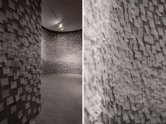 'my london' installation by nendo for established & sons - 25, 000 maps of london neighbourhoods are pasted onto the walls of the space.