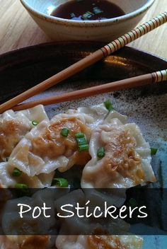 Meaty, two-bite, pan-fried dumplings: a won-ton wrapper filled with ground pork (or chicken), fine-minced veggies, ginger, garlic, and sesame oil.