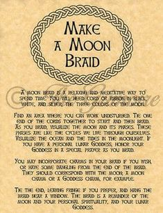 How to Moon Braid Book of Shadows Spell Page Wiccan Witchcraft Charmed BOS Moon Spells, Magick Spells, Wicca Witchcraft, Wiccan Books, Witch Spell, Moon Witch, Sea Witch, Witch Board, Wiccan Crafts