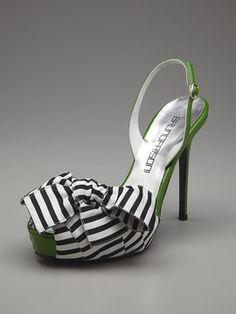 Striped Bow Platform Sandal (Bruno Frisoni)