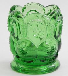 LE Smith Moon and Stars Toothpick / Match Holder, Green Glass