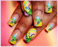 airbrush nail art yellow swirl. nailartnails.com
