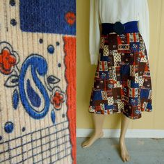 floral paisley skirt . vintage 1970s . patchwork print corduroy . size xs - buy it at www.nesteggvintage.etsy.com