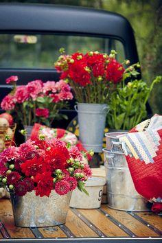 colors, flowers, galvanized pails