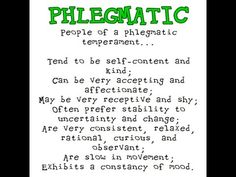 Personality test phlegmatic Temperament: Types