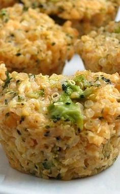 Broccoli Cheddar Quinoa Bites Ingredients 2/3 cup quinoa, rinsed 1 cup water 2 cups broccoli, chopped 2 cups cheddar cheese, shredded 2 eggs, lightly beaten 1 tablespoon grainy mustard season