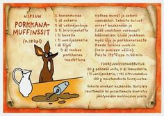 *collection - recipe card - Tracy Chen - Picasa Albums Web Moomin Shop, Finnish Recipes, Carrot Muffins, Tove Jansson, Sweet Bakery, Baking With Kids, Old Recipes, Muffin Recipes, Recipe Cards