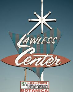 Vintage Neon Sign | Lawless Center | Retro Red, White and Blue | Stripes | Starburst | 1950s Kitsch | 1960s Kitschy |