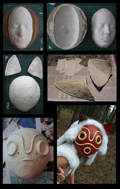 Making of my mononoke mask.Materials used: cardboard, plastercast, iron wire, tape, air drying clay, acrylic paint.