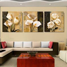 Canvas Printed Oil Painting Rose Lily Tulip Pictures Printing 3 PCS No Frame #Unbranded #Modernism